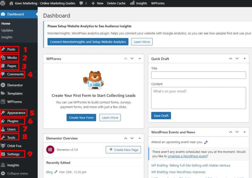 How to start a blog by learning the wordpress dashboard