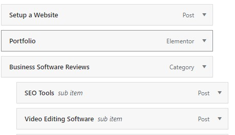 Example menu from backend in WordPress