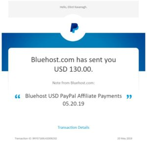 Bluehost first commission payout May 2019
