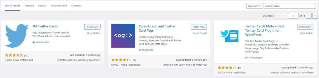 Twitter card plugins in WordPress